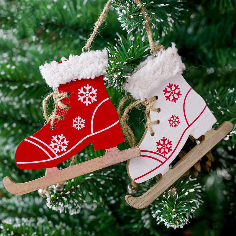 Wooden Christmas Painted Skates Ski Shoes Pendant Ornaments Christmas Tree Decorations Xmas Decorations For Home Noel Supplies