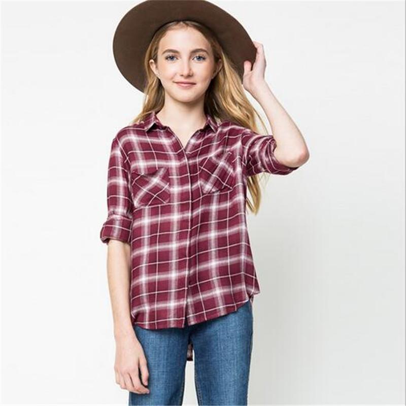 classic plaid camisas de moda para nios blusa de algodn nios grandes muchachas del