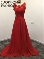 Vintage V Neck Avondjurk Red Evening Dress 2017 Vestido De Noche Kaftan Abendkleider Evening Gowns Ever