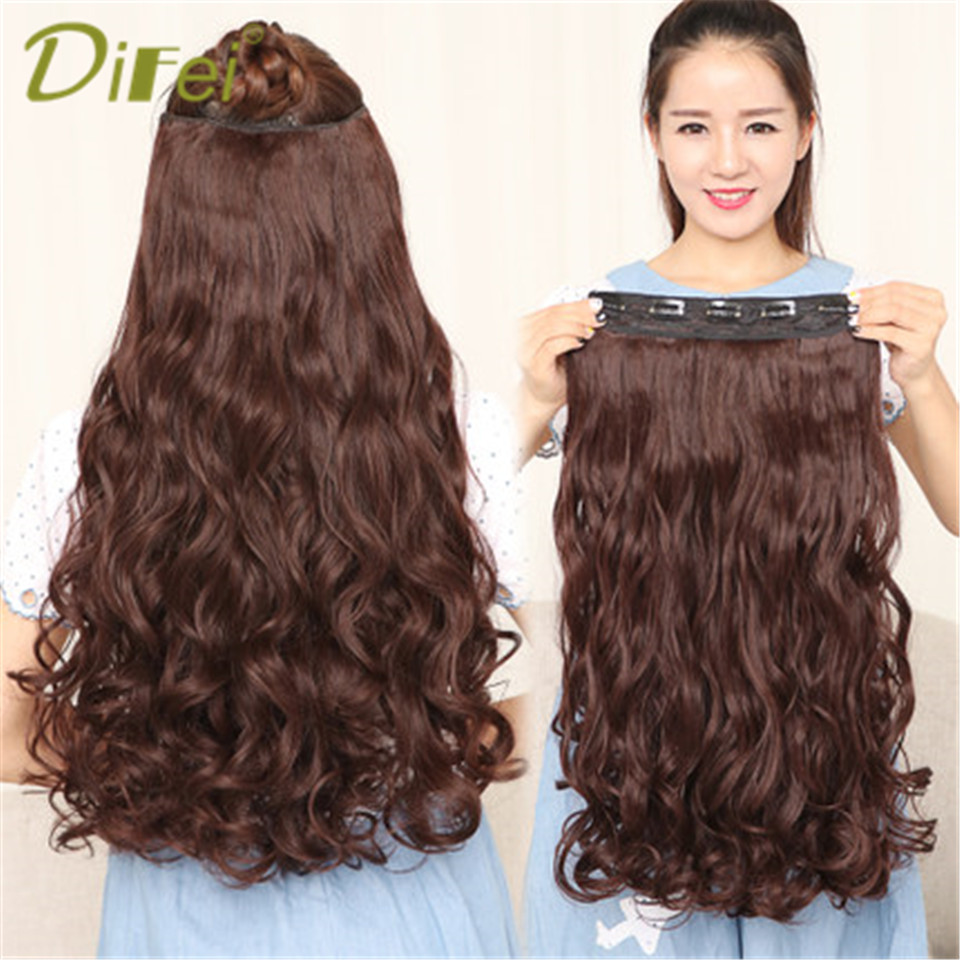 DIFEI Long Wavy Hair Extension 5 Clip High Temperature Synthesis Invisible Seamless Wigs for Women Hair Extension ...