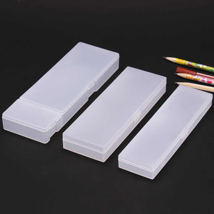 Simple Transparent Pencil Case Frosted Plastic Pencil Pens Storage Box Stationery Office Supplies