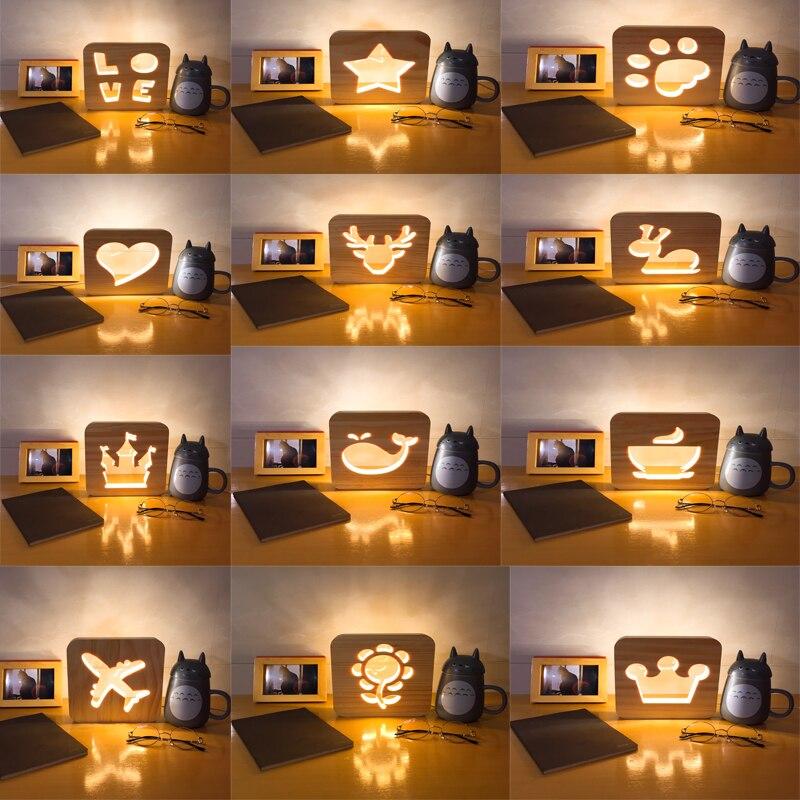 Creative Sculpture Sur Bois LED Nuit Lumière Patte Avion Amour Étoiles Lumières USB Puissance Lampe De Table De Bureau pour Enfants Bébé Cadeau