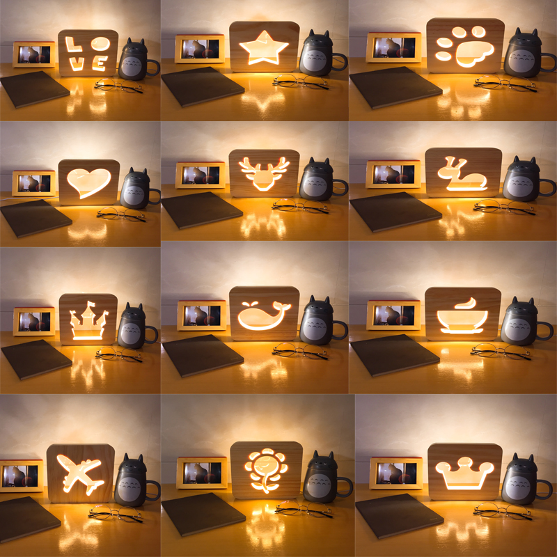 Creative Wood Carving LED Night Light Paw Airplane Love Star Lights USB Power Desk Table Lamp for Kids Baby Gift remote control led light creative monje smart air purifier wireless night lights sensor lamps gift table desk lamp