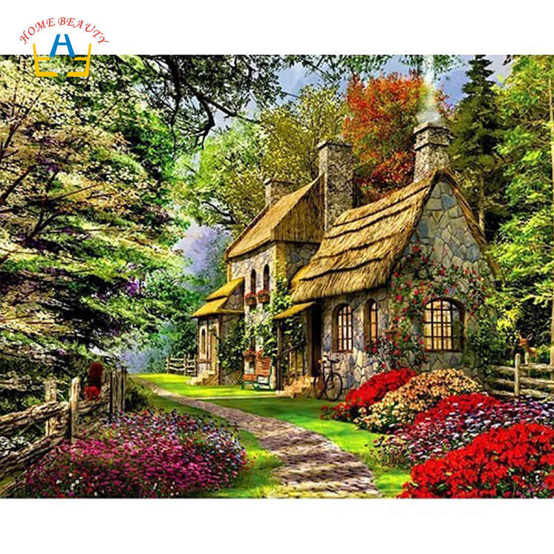 diy painting by numbers on canvas forest house pictures for drawing hand-painted home decoration wall art for the kitchen A010