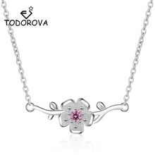 Todorova Pink Crystal Cubic Zircon Sakura Flower Pendant Necklace Branch Leaf Cherry Blossoms with Chain Choker Jewelry