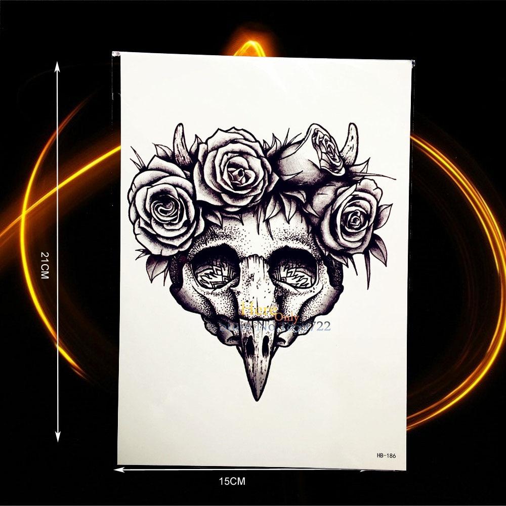 Skull Henna Tattoo: 1PC Black Spray Sketch Skull Head Bones Temporary Tattoo