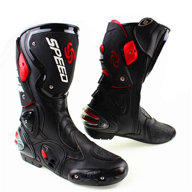 Bottes de moto en microfibre pour hommes bottes de Motocross pour course de vitesse Pro bottes de Motocross à hauteur du genou