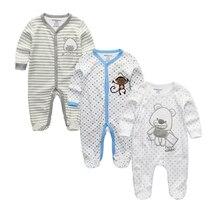 Комбинезоны для младенцев, унисекс, 2/3 шт./лот, пижама для новорожденных 0 12 мес., комплект одежды для маленьких девочек, одежда для маленьких мальчиков с круглым вырезом, 2020