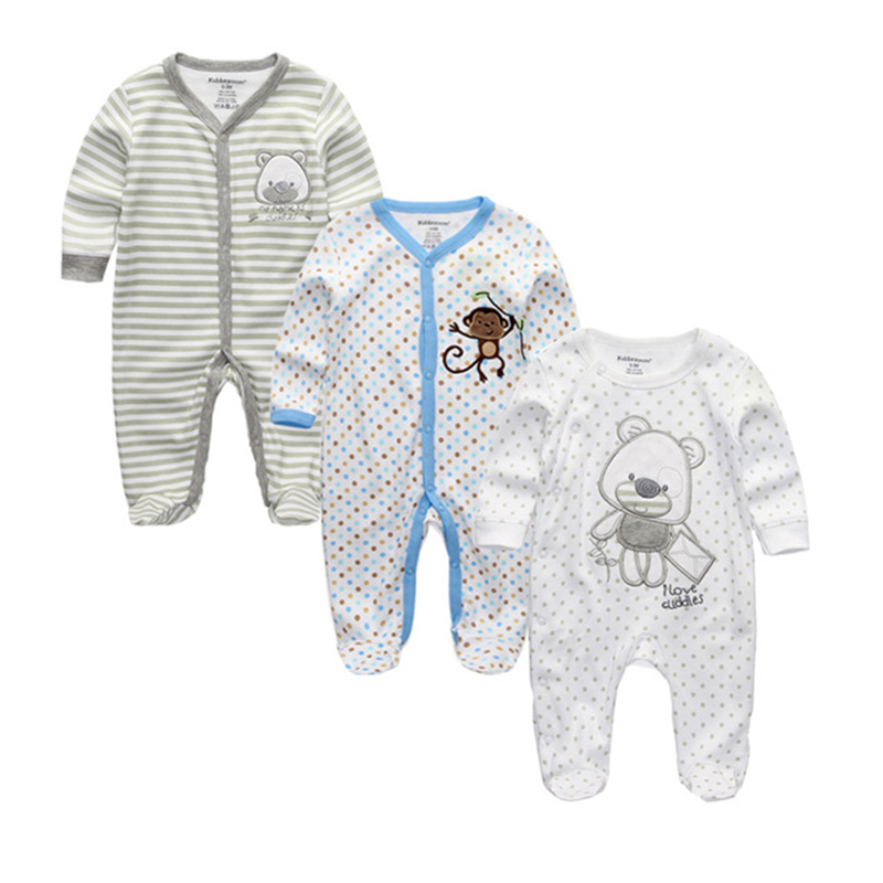 2018 Unisex 2/3pcs/lot Baby Rompers 0-12M Pajamas Newborn Clothing Set Baby Girls Clothes Baby Boy Clothes O-Neck Roupa de bebe