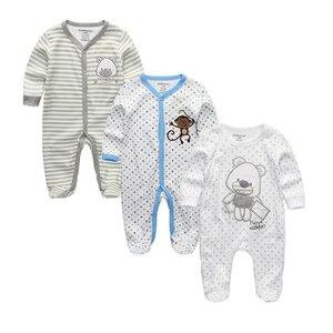 Image 1 - 2020 Unisex 2/3pcs/lot Baby Rompers 0 12M Pajamas Newborn Clothing Set Baby Girls Clothes Baby Boy Clothes O Neck Roupa de bebe