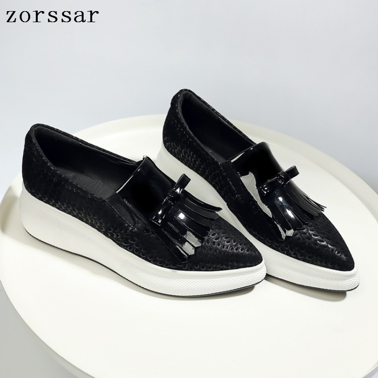 2019 Spring women flat platform shoes ladies Cow leather Tassel Pointed flat shoes women slip-on casual shoes moccasins creepers2019 Spring women flat platform shoes ladies Cow leather Tassel Pointed flat shoes women slip-on casual shoes moccasins creepers