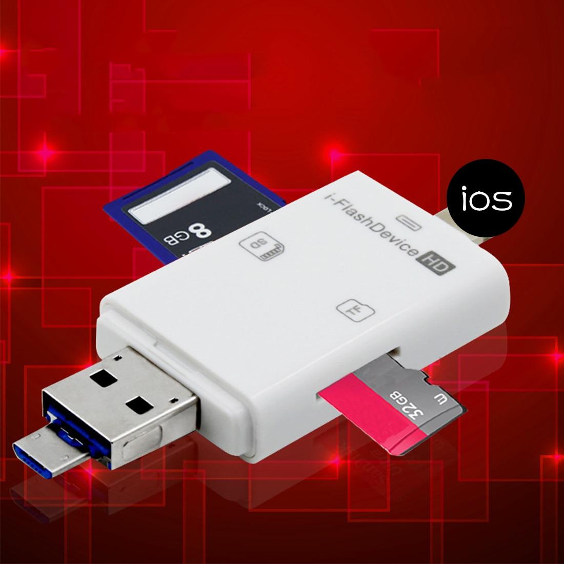 NOYOKERE 3in1 Micro USB Leitor de cartão Micro SD SDHC TF SD cartão Para o iphone 5/5S/6/6 7 plus/ipad pro air/Samsung/LG/HTC OTG Andrid telefones