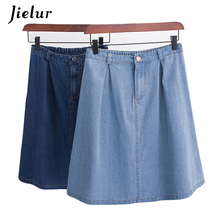Jielur Korean Fashion A line Harajuku Faldas Mujer Moda 2019 Jeans Skirt Summer Dark Blue Loose Denim Skirts Women S-L Dropship