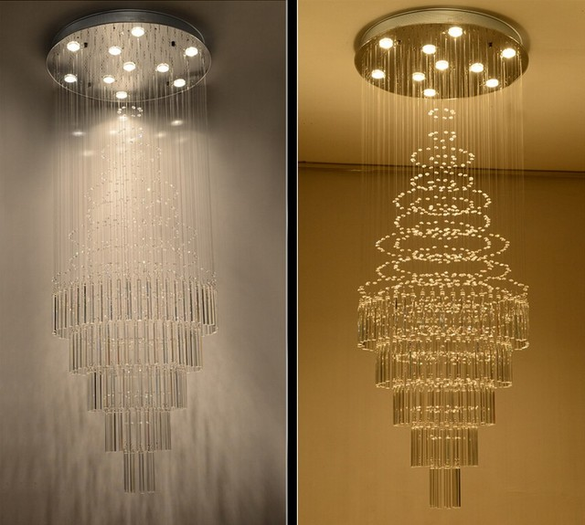 New LED Crystal Chandelier Villa Lobby Lounge Dining Room Lamp Double  Staircase Long Crystal Chandelier Light