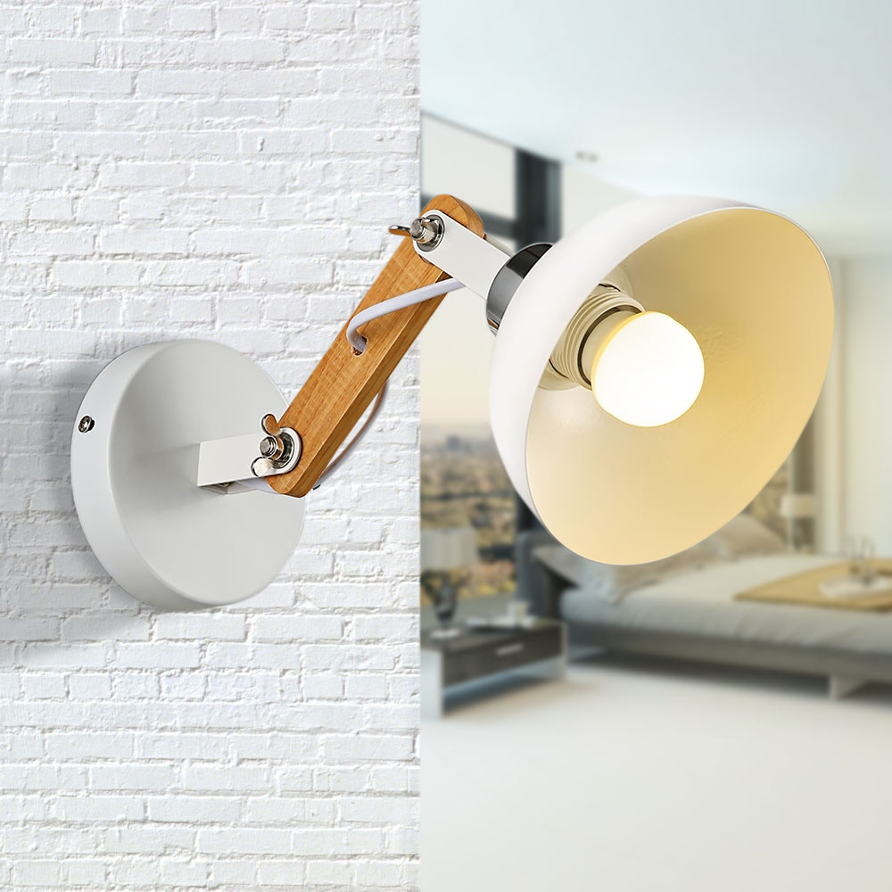 Lemonbest Modern Nordic Style E27 Socket Wall Lamp Painted Iron Lampshade Wall Sconce With Power Switch For Living Room Ac 220v 100% Original Led Indoor Wall Lamps