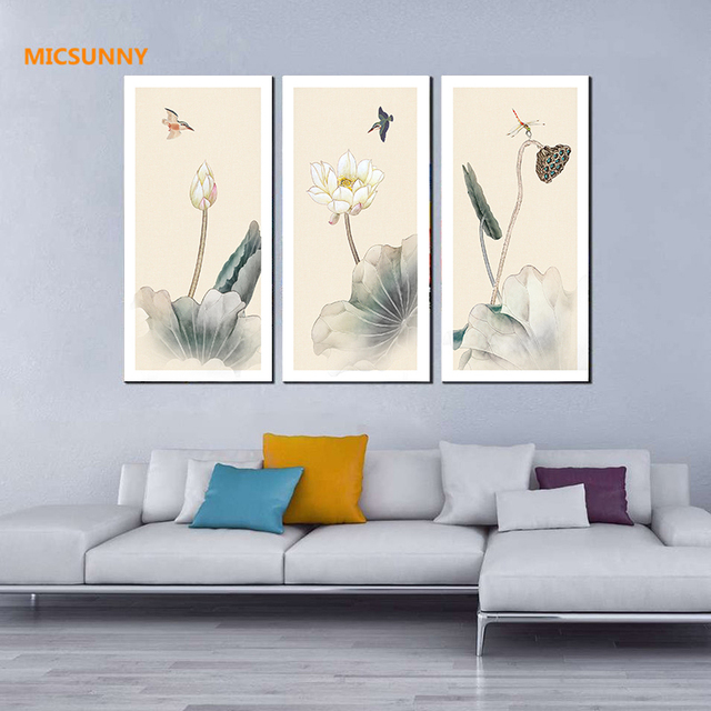 Micsunny home wall decor traditional lotus just buds picture chinese style original design canvas paintings decoration