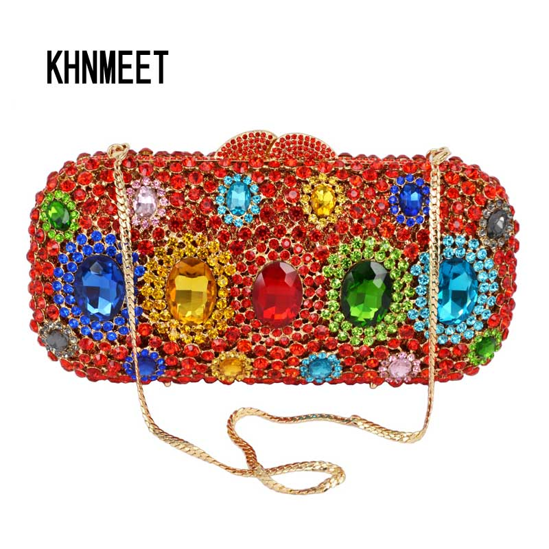 Green Red Women's Clutch bag Luxury Multicolor Diamond Evening Bag Designer Match Wedding Bridal Party Purse Handbags SC502 brand designer luxury crystal multicolor clutch bag women diamond evening bag golden oval wedding banquet purse handbags sc467