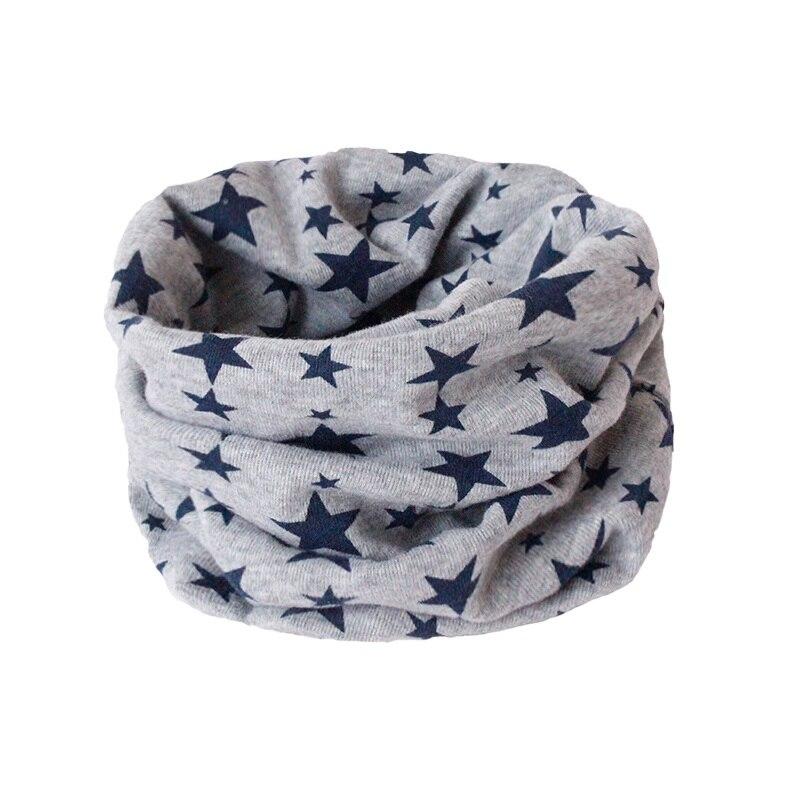 Детский хлопковый шейный шарф с милым принтом; детский теплый шарф; Детские воротники; осенне-зимний шарф-кольцо для мальчиков и девочек; аксессуары для детской одежды - Цвет: grey star