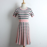 Fashion Designer Women A line Knitted Dress Short Sleeve O neck Elastic Short Elegant Ladies Dress Vestidos Robe Femme