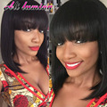 African American Bob Cut Wigs With Bangs Heat Resistant Synthetic Wigs For Black Women Ombre Cheap Wigs For Women