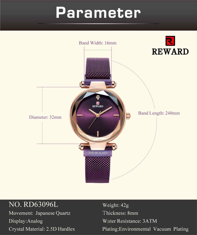 REWARD Luxury Brand 2019 Fashion Shell Surface Ultra-thin Strap Ladies Watch Women Watch New Gift Quartz Watch montre femme