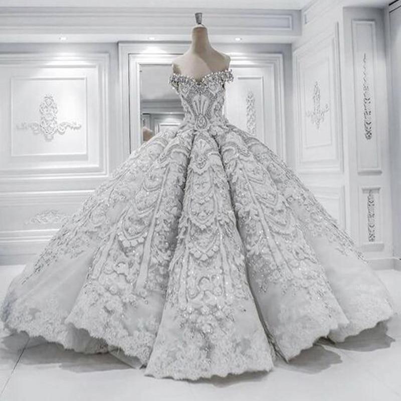 IBayU Real Sample Luxurious Princess Wedding Dress Chapel Train ...