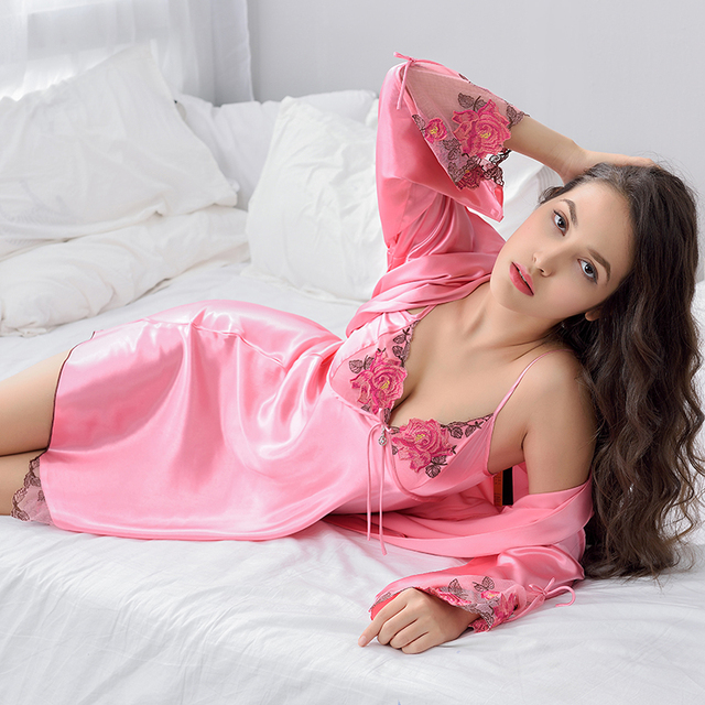 b083fd2e5d Xifenni Brand Sleeping Robe Female Smooth Silk Sleepwear Women Lace  Nightgowns Sexy V-Neck Two-Piece Bathrobes Kimono X6629