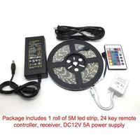 Светодиодные RGB ленты 5 м 300 светодиодов SMD 5050 RGB светодиодные полосы 60 светодиодов/M 24Key ИК пульт дистанционного управления 12 V 5A блок питания