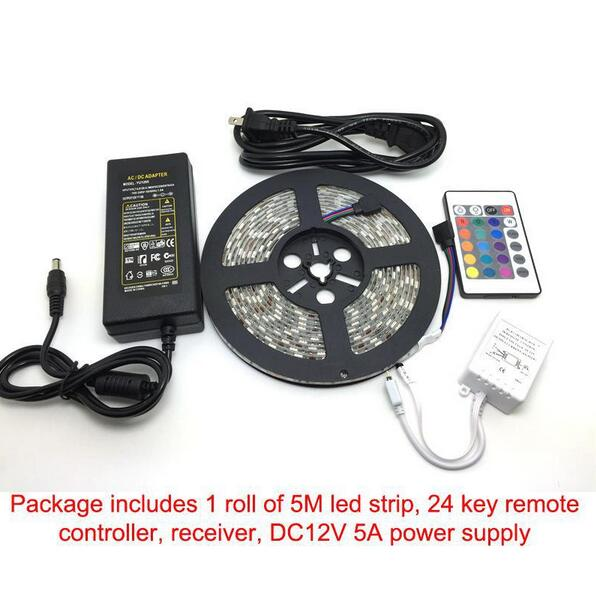 RGB Led Strips 5M 300 Leds SMD 5050 RGB lights led strips 60 leds/M 24Key IR Remote Controller 12V 5A power supply