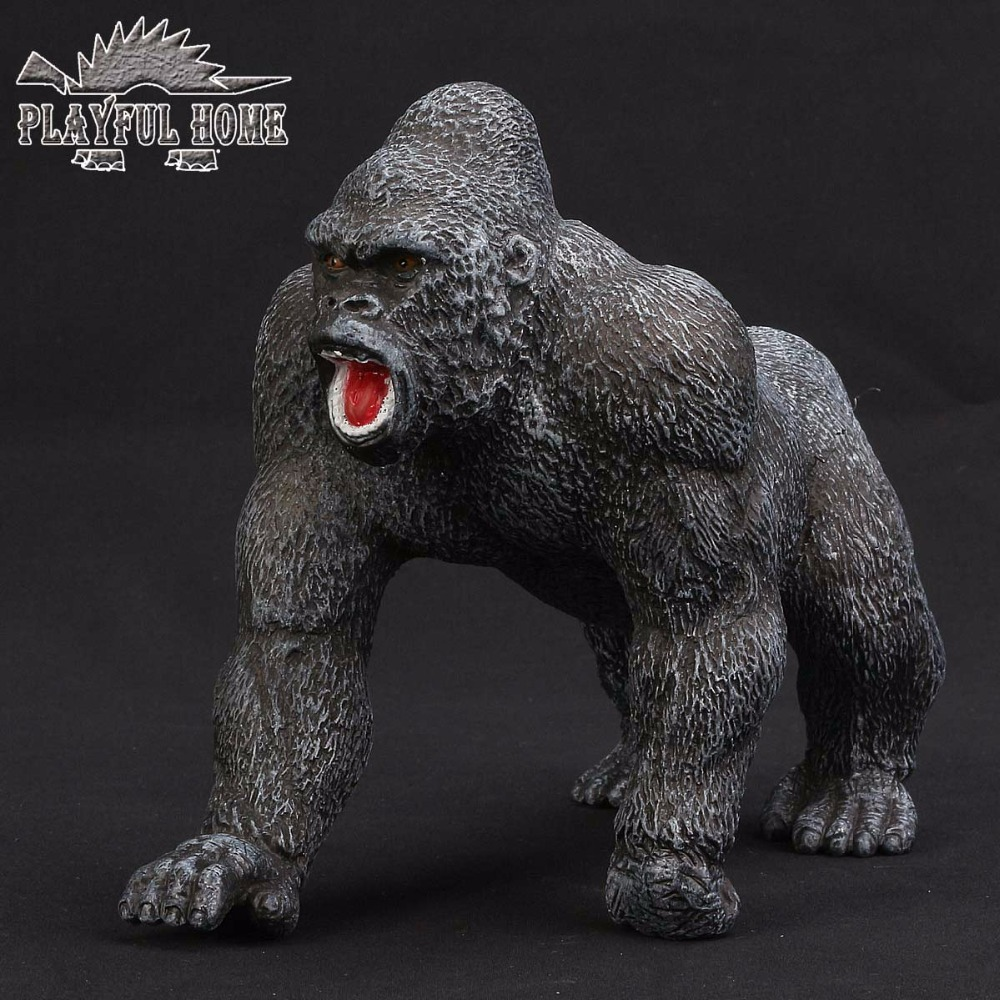 Handmade Certified Goods King Kong Model Soft PVC Sruffed 3D Anime Animals Action Figures Orang Kid Figma Toy For Children Gift lps toy bag 18pcs pet shop animals cats kids children action figures pvc lps toy birthday christmas gift