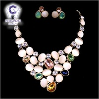 HanCheng Fashion Golden Link Colorful Opal Created Crystal Rhinestone Necklace Earrings For Women Jewelry Sets & more Collier