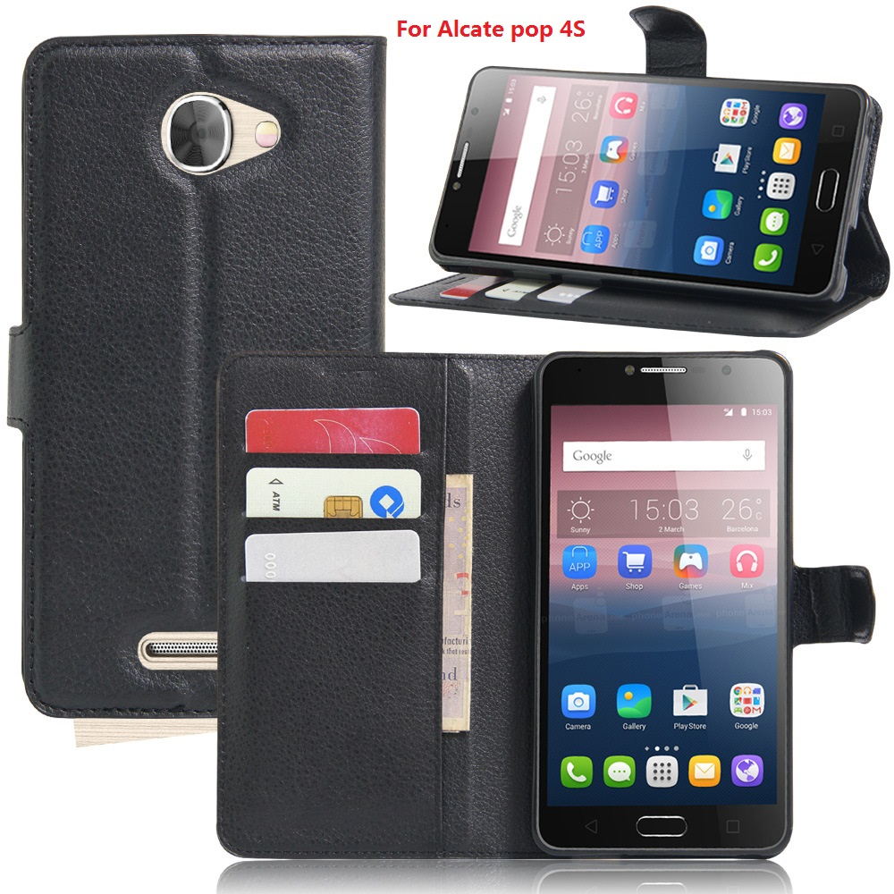 100pcslot Lychee Wallet Leather Case Stand Card Holder For Alcatel One Touch Pop 4 Plus PIXI 4 6.0 4G Flash plus 2