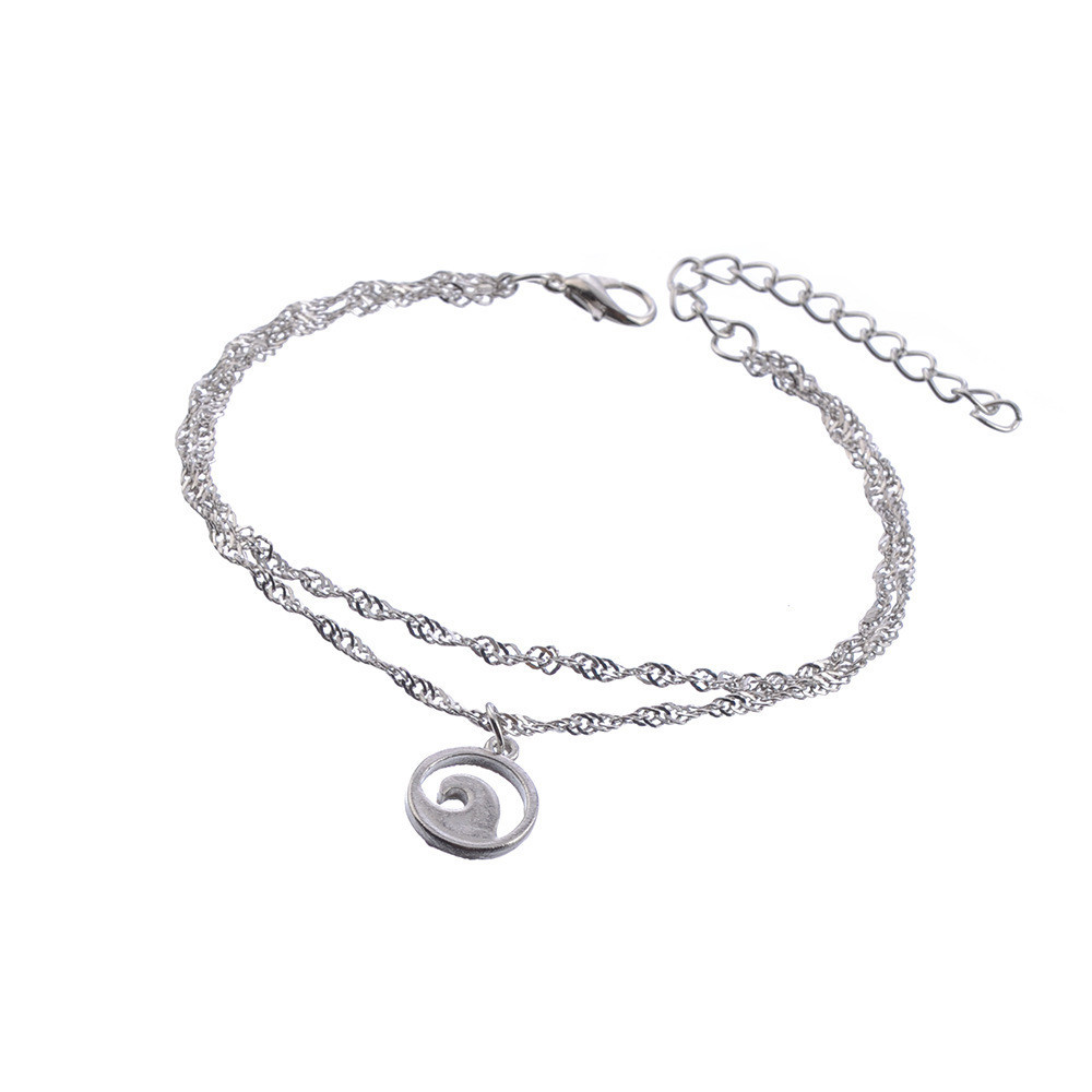 New Vintage Silver Multi layer Wave Anklet for Women Simple Pendant Ankle Bracelet Boho Jewelry in Anklets from Jewelry Accessories