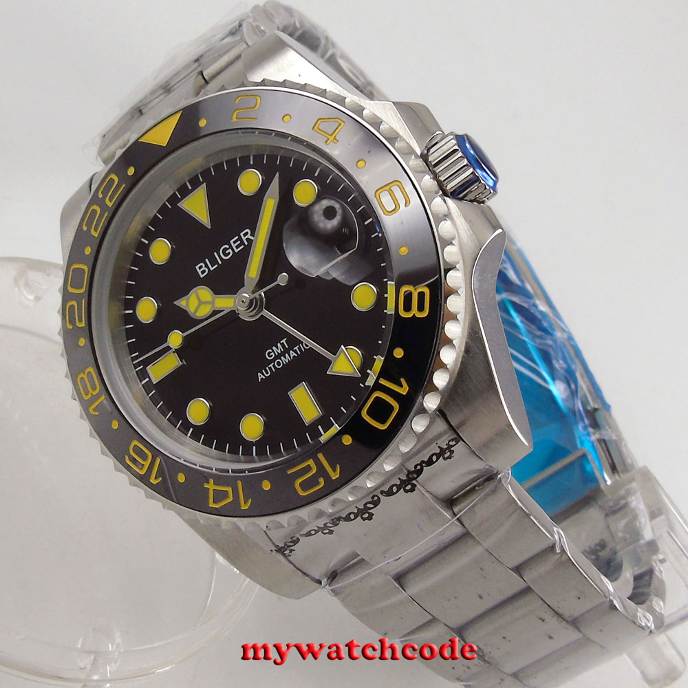 цена 40mm bliger black dial GMT yellow marks date sapphire glass automatic mens watch онлайн в 2017 году