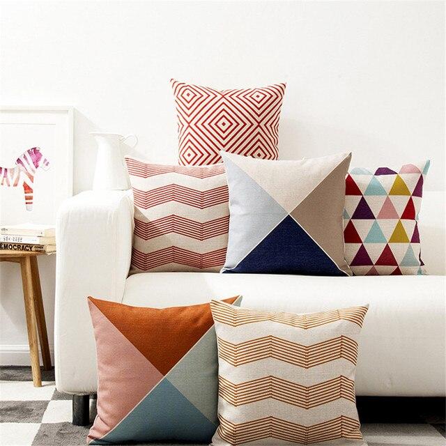 Decorativo caso cuscino di tiro di forma quadrata colorati geometrica cotone lin
