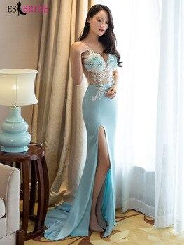 41c3b5b88d0a Vestidos De Noche azules 2019 sirena De un hombro De gasa De encaje con  cuentas talla grande vestido ...