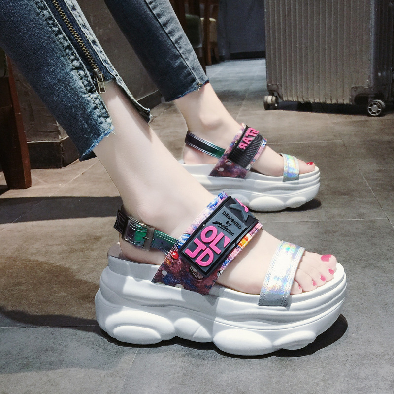 2019 New Summer Women Sandals High Heel Platform Ladies Shoes Summer Beach Sandals Red Women Casual Shoes sandalias mujer 55