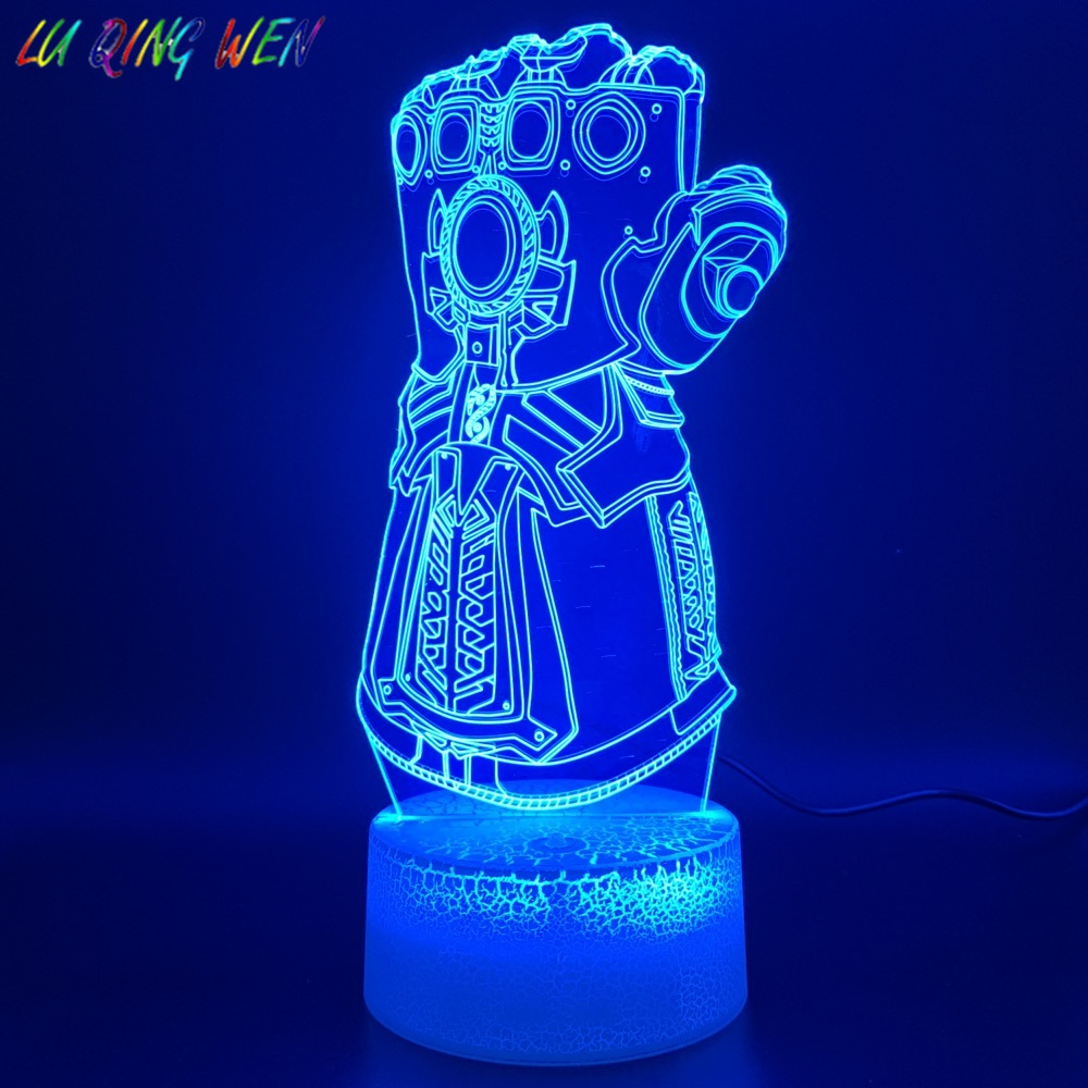 3d Led Night Light Lamp Marvel Thanos Glove Design Home Decoration Crafts Boys Bedroom Nightlight Children's Birthday Gift