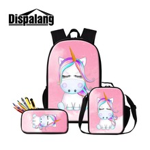 3 in 1 Set Unicorn School Backpacks for Teen Girls Cooler Lunch Set Bag Cute Bookbag Kid Zipper Pencil Case for Chidlren Mochila dispalang cute ballet girls school backpack and lunch pouch set pretty bookbag insulated cooler bag for children pencil case kid