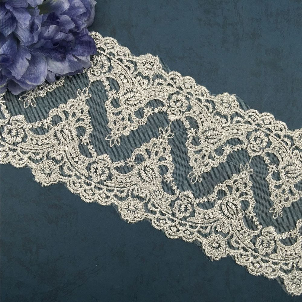 Exquisite Embroidery Lace Trim With Silver Thread Bilateral Retro