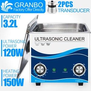 3.2L Ultra sonic cleaner bath khz com temporizador e aquecedor de 120W 40 sonic óculos jóias máquina de limpeza doméstica de aço inoxidável moedas