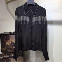 Весенняя Модная шелковая блузка с отложным воротником роскошные женские блуза с кисточками 2019 высокое качество шелковая рубашка блузка с д