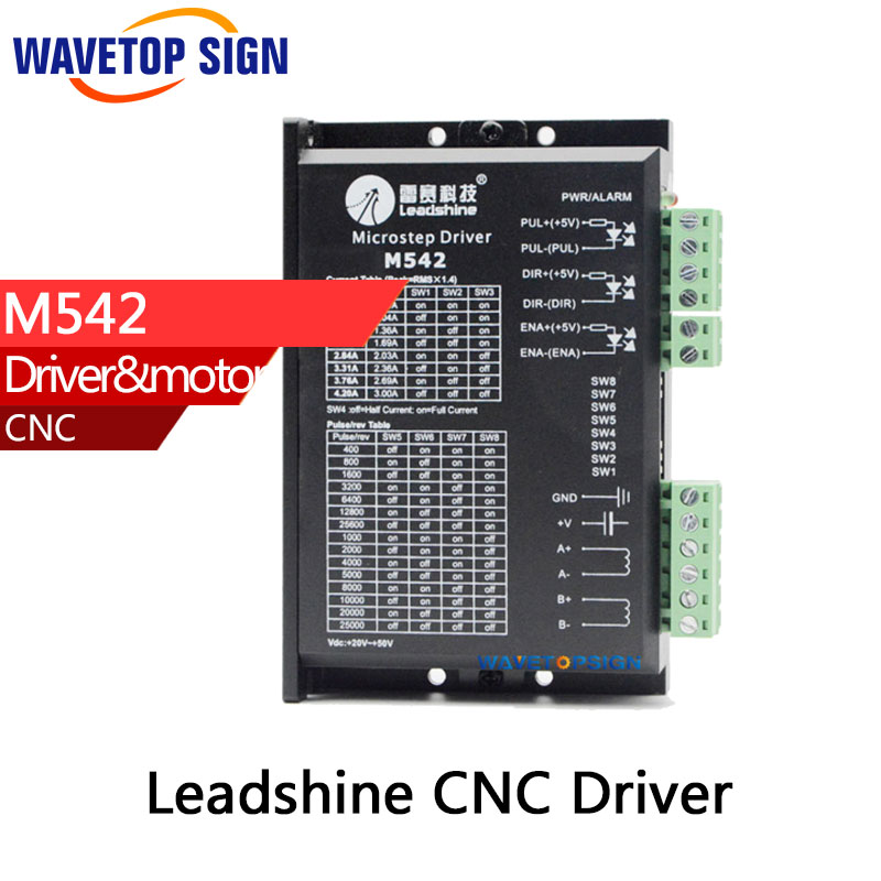 leadshine 2 phase stepper driver M542 match with 57 series stepper motor cnc router use leadshine 2 phase microstep driver m542 05 step motor driver 20v 50vdc 1 2a 5 04a for cnc router
