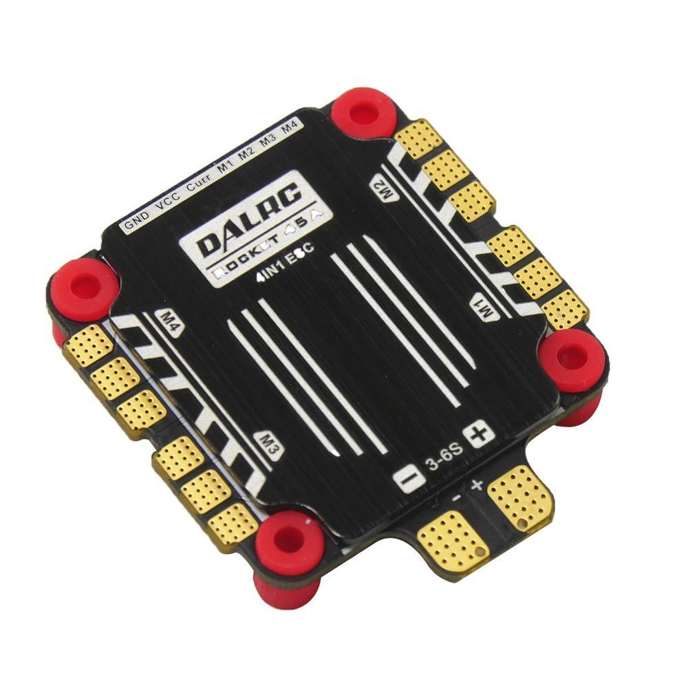 DALRC Rocket 45A 4 en 1 ESC Brushless 3-6S Blheli_32 LIHV DSHOT1200 pour bricolage FPV Racing Drone compatible avec F405 F722 FC