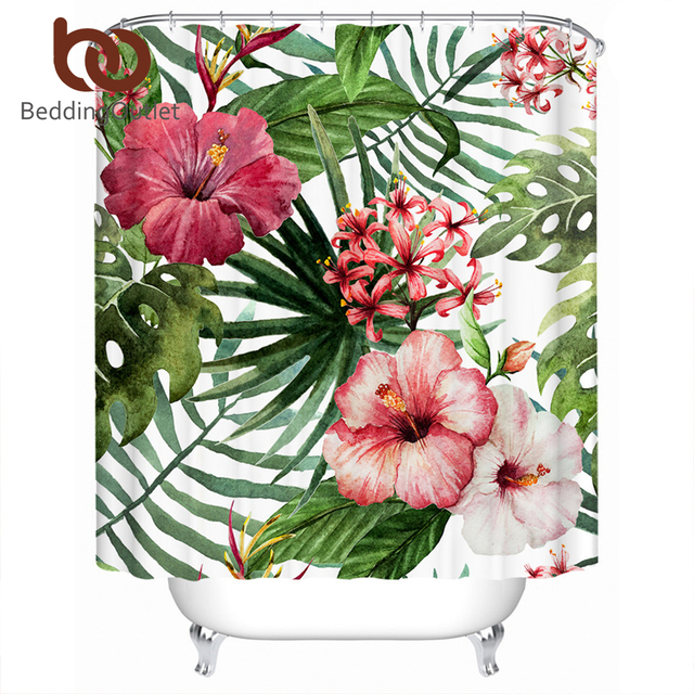 BeddingOutlet Flowers Leaves Shower Curtain Waterproof Polyester Tropical Plants Red Green White Bath With Hooks