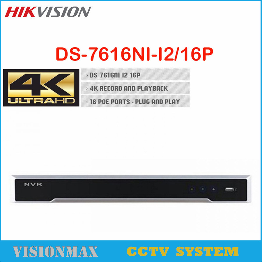Hikvision 4K UHD H 265 16CH 16POE 2SATA Network NVR DS 7616NI I2 16P 12MP Support