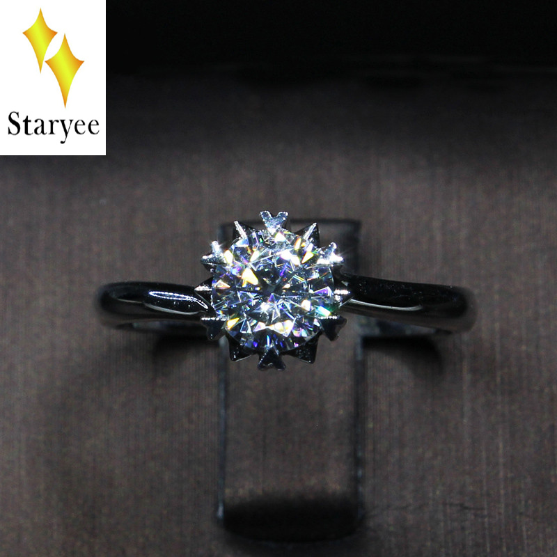 Certified Charles Colvard 0.68ct 18k Solid White Gold Round Cut Lab Diamond Moissanite Halo Rings For Women Female Wedding Party 18k 750 white gold moissanite pendant round cut lab grown moissanite diamond chain pendant necklace for women in fine jewelry
