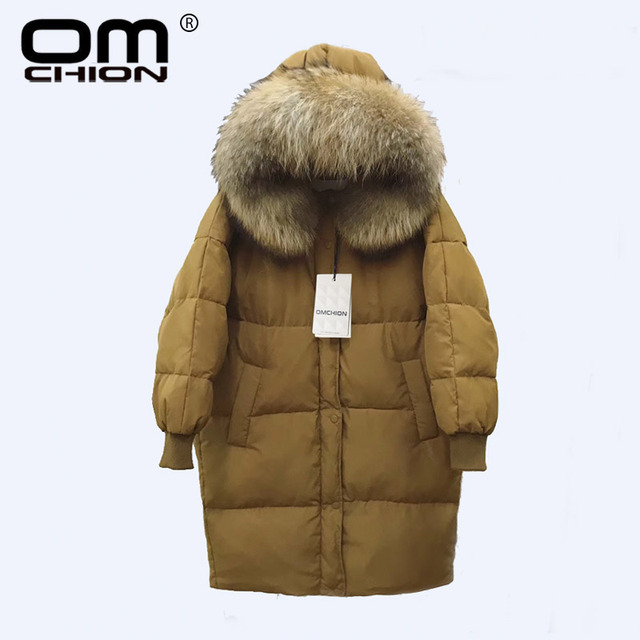 OMCHION 2017 New Luxury Raccoon Fur Winter Jacket Women Long Sleeve Thick Hooded White Duck Down Coat Warm Inverno QYR01