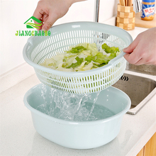 JiangChaoBo Plastic Double-layer Washing Basket Drain Kitchen Home Multi-function Round Sink Fruit