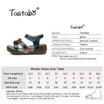Tastabo Genuine Leather Gladiator Sandals Fashion Low Wedges Flower Summer Shoe Ladies Platform Sandals Shoes Women Flat Shoes 4